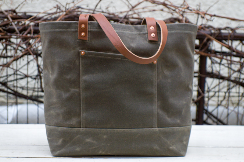 Market Tote with Long Handles, Monochrome, Olive Drab