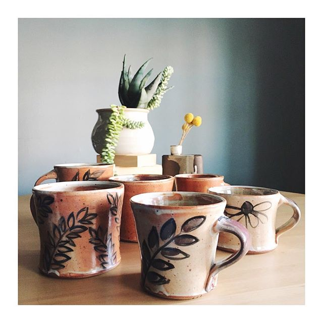 ☕️These mugs aren't filled with coffee for me (I wish!), but they might be filled with coffee for you someday? Photographing these pots to list online soon. 🌵🌱The succulents in the back are part of my winter sunshine circuit rotation (putting plants where they'd get more sun) and look how well they're doing!