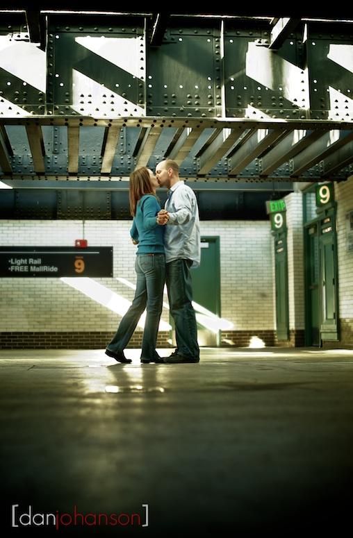 train station engagement portrait