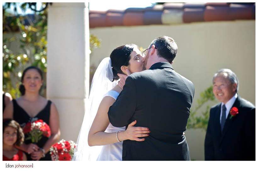 kiss at the wedding ceremony