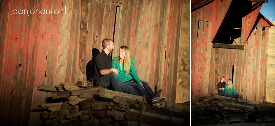 rustic barn engagement portrait