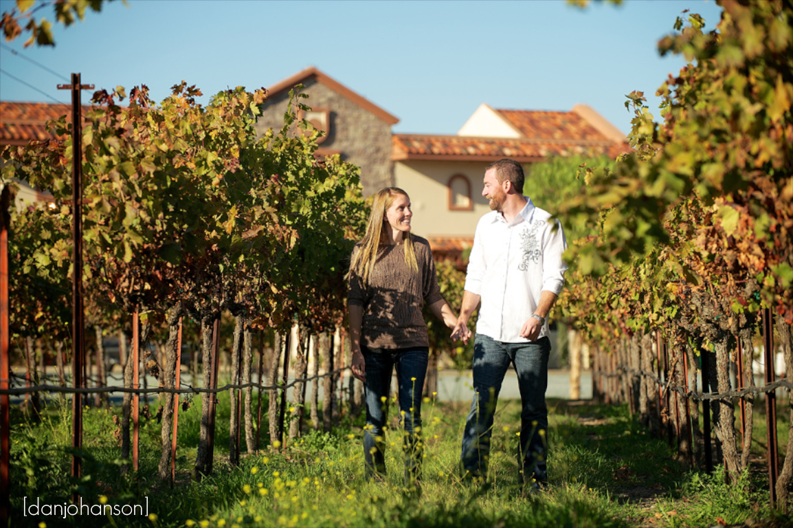 vineyard portrait engaged couple casa real event center