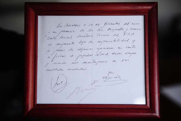 """This is the infamous napkin that brought a 13 year old Argentinian named Lionel Messi to Barcelona with a promise to provide the injections he needed for his crippling hormone deficiency. In the years since, Messi has gone on to win five La Ligas, two Copas del Rey, five Supercopas de Espana, three Champions Leagues, two Super Cups, two Club World Cups, and copious Player of the Year awards. Many consider him to be  the greatest soccer player alive.    However, surprisingly, his home town and country seem to have abandoned him. And so too, have many in his adopted nation. ESPN's Wright Thompson traveled down to Argentina to investigated why everyone seems to be upset with the shyest superstar in sports:     In the 2006 and 2010 World Cups, playing outside the familiar Barcelona system, he struggled, at least in the expectant eyes of his countrymen. His coaches and teammates didn't understand the aloof Messi, who once went to a team-building barbecue and never said a word, not even to ask for meat. The people from Argentina thought he was Spanish, and in the cafes and pool halls, they wondered why he always won championships for Barcelonabut never for his own country. They raged when he didn't sing the national anthem before games. In Barcelona, Messi inspired the same reaction. People noticed he didn't speak Catalan and protected his Rosarino accent. He bought meat from an Argentine butcher and ate in Argentine restaurants. """"Barcelona is not his place in the world,"""" influential Spanish soccer editor Aitor Lagunas wrote in an e-mail. """"It's a kind of a laboral emigrant with an undisguised homesick feeling.""""    In many ways, he is a man without a country.      Aside from superstars like Messi, Sergio Ageuro, and Carlos Tevez, Argentina supplied over 1,700 players to professional leagues abroad last year, surpassing Brazil asthe worlds leading producer of soccer talent.But back at home, Argentinian football has been mired in a recent outburst of soccer violence among th"""