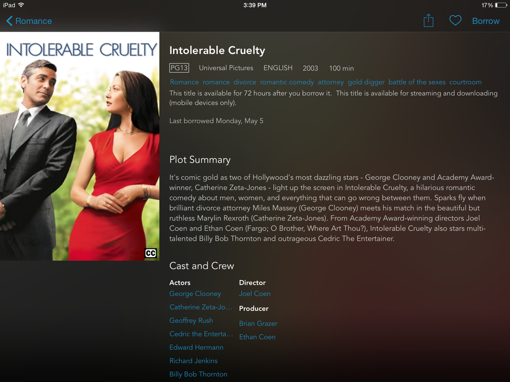 Intolerable Cruelty on the current hoopla mobile app.