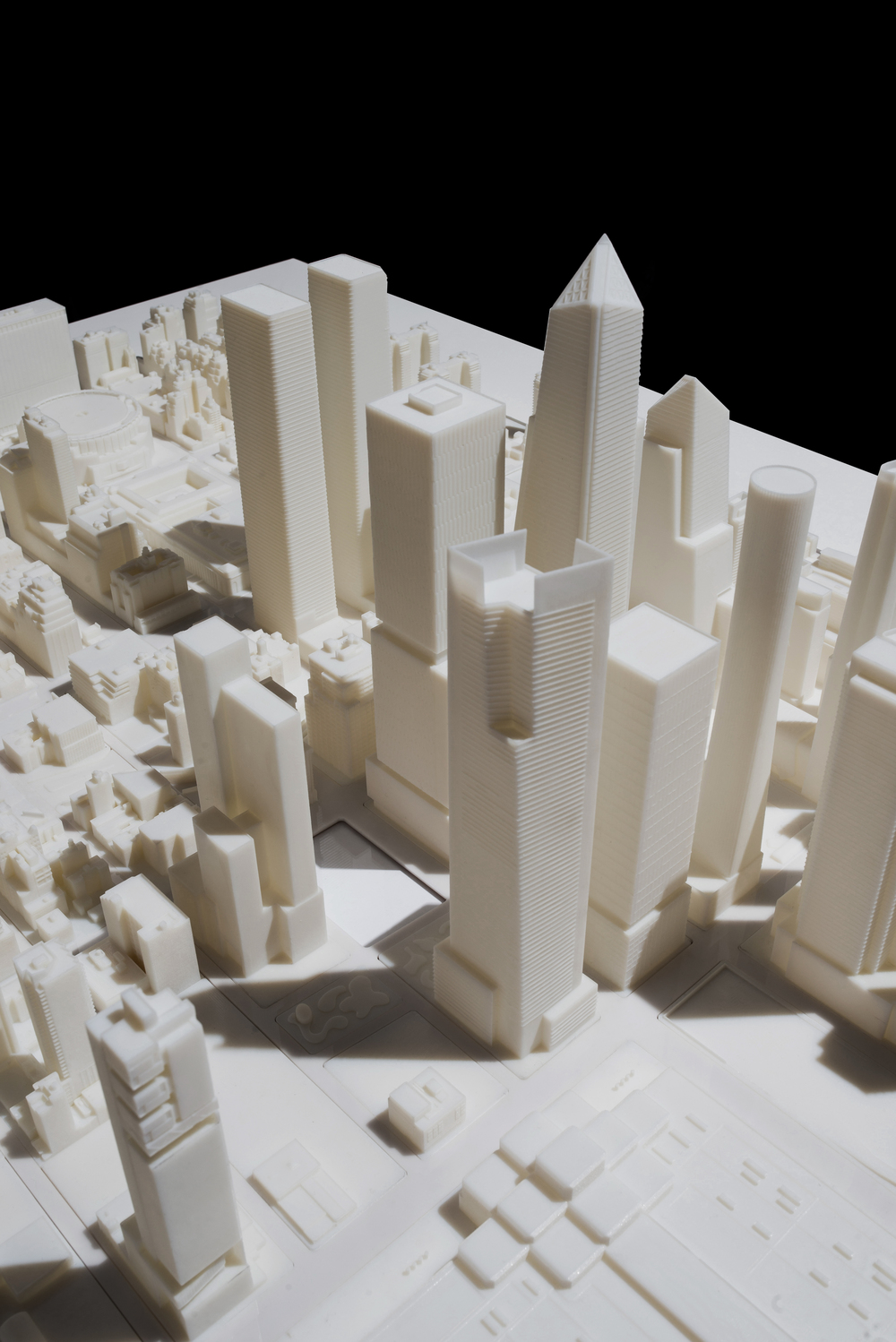 3D Print of Hudson Yards in Manhattan (1:1250, Verowhite)