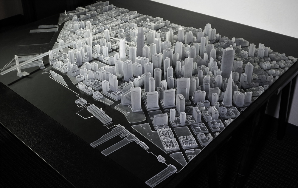 3D Print of San Francisco (1:1600, Veroclear)