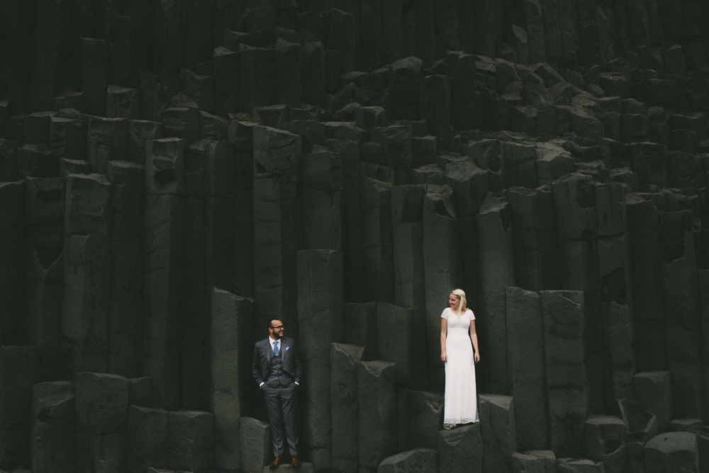 Iceland wedding Reynisfjara basalt columns
