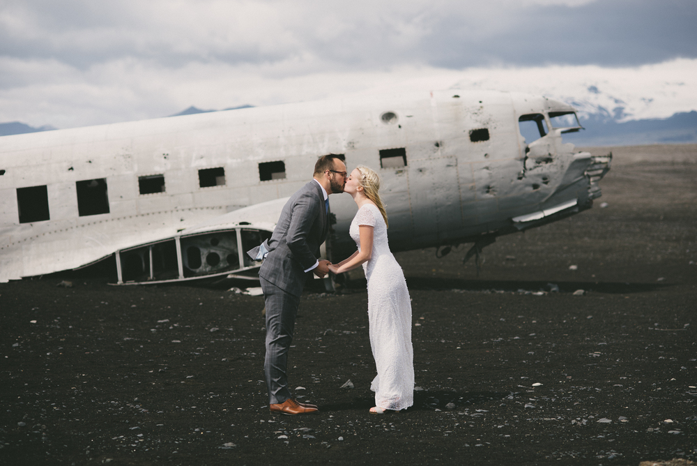 Iceland destination wedding photographer DC3 plane