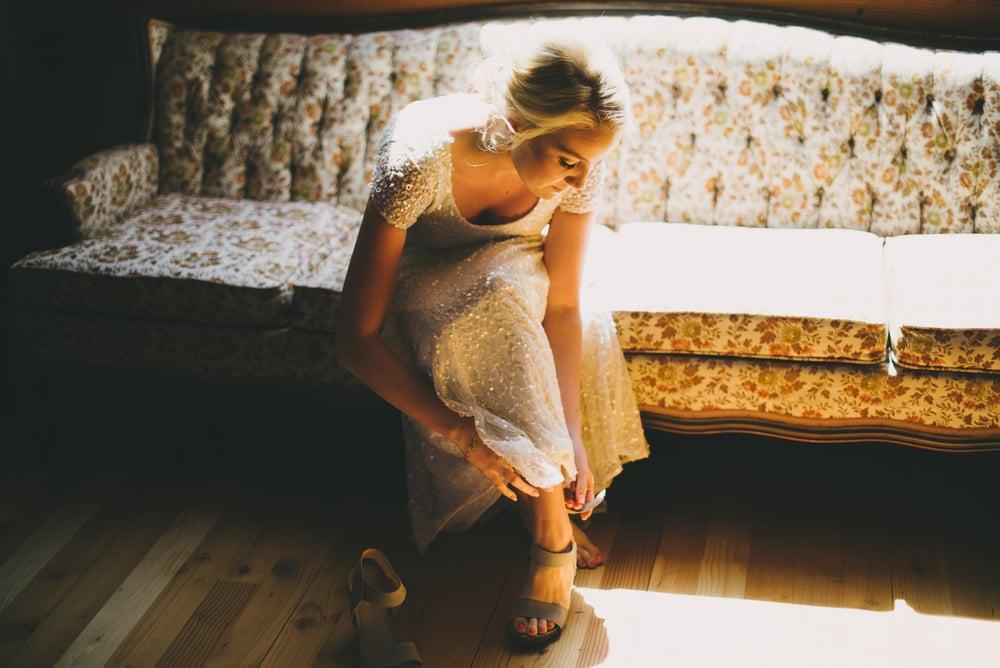 Bride portrait window light