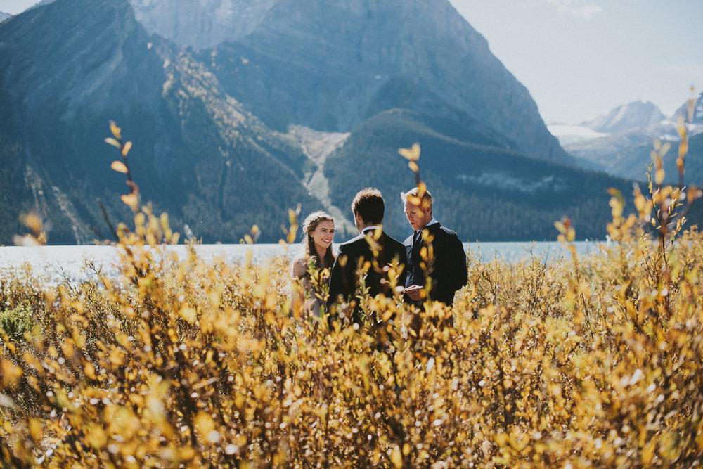 elopement kananaskis couple vows