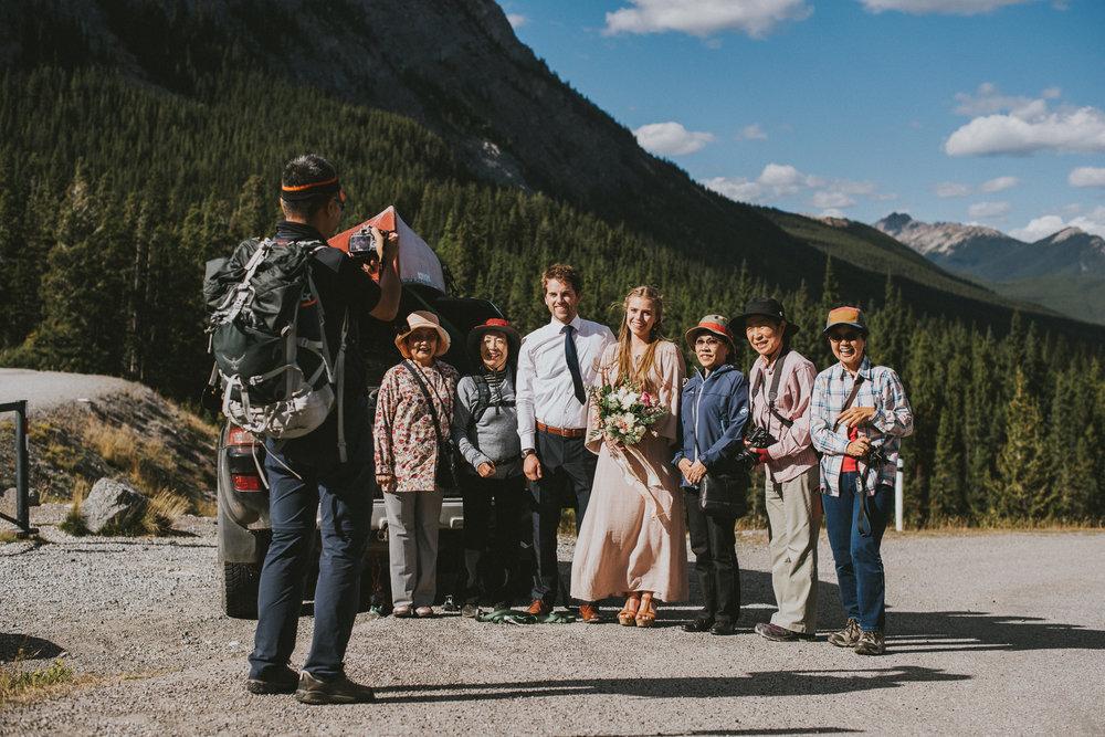 kananaskis tourist elopement candid bride groom