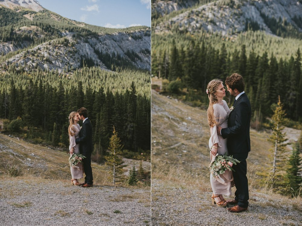 couple portrait elopement kananaskis bride groom