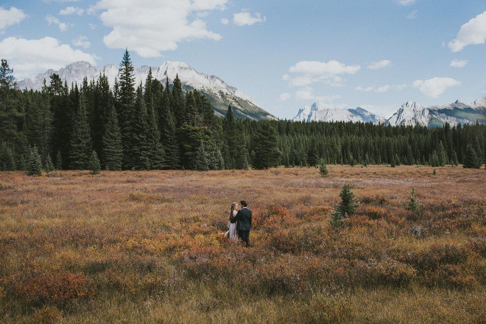 bride groom field kananaskis mountains