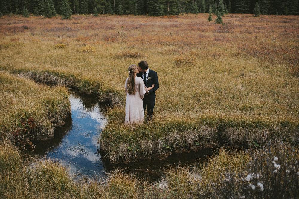bride groom kiss field kananaskis