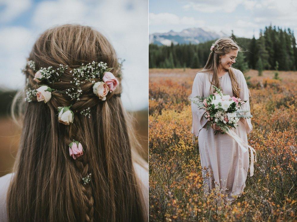 kananaskis bride hair flower details portrait