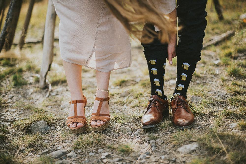 bride groom shoes socks detail portrait kananaskis elopement