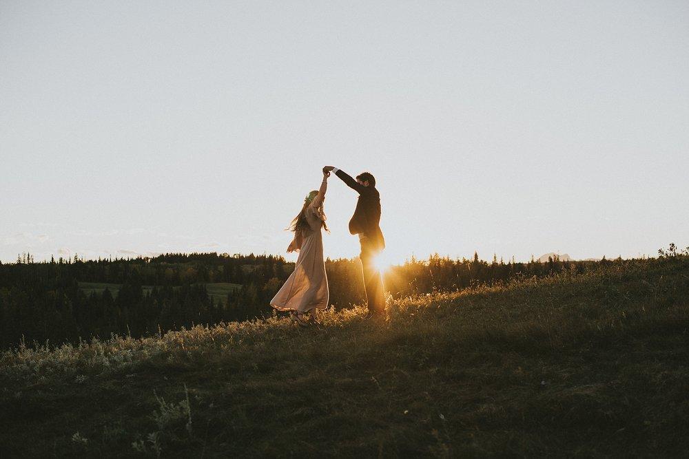 kananaskis elopement sunset bride groom dance spin