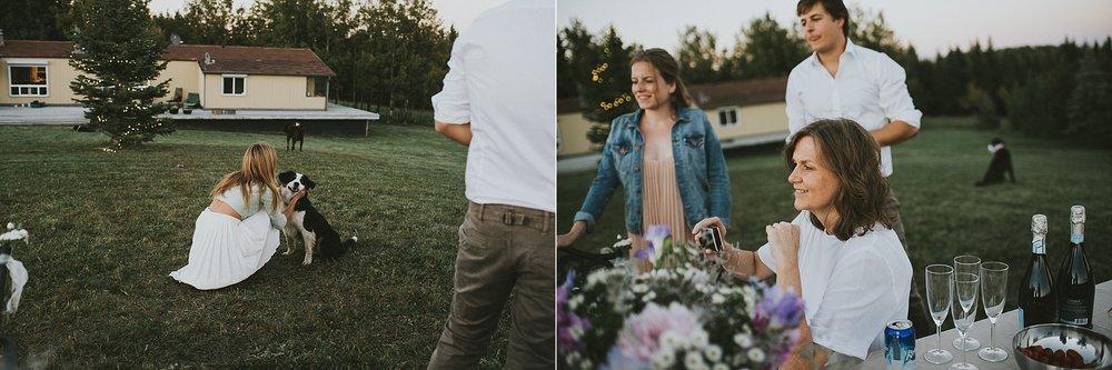 wedding guests candid reception kananaskis elopement