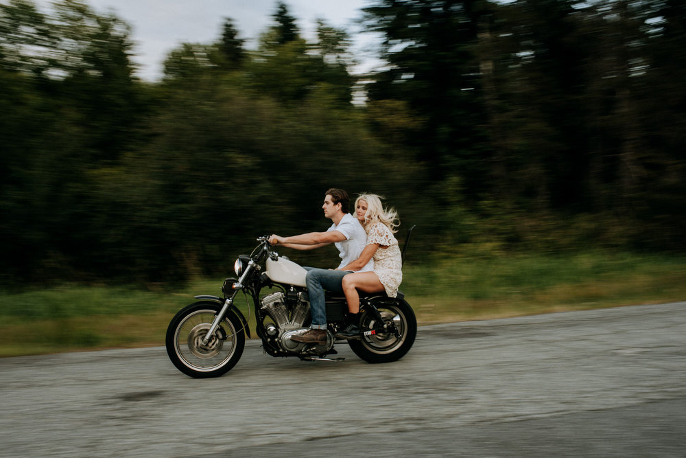 couple motorcycle pitt lake engagement