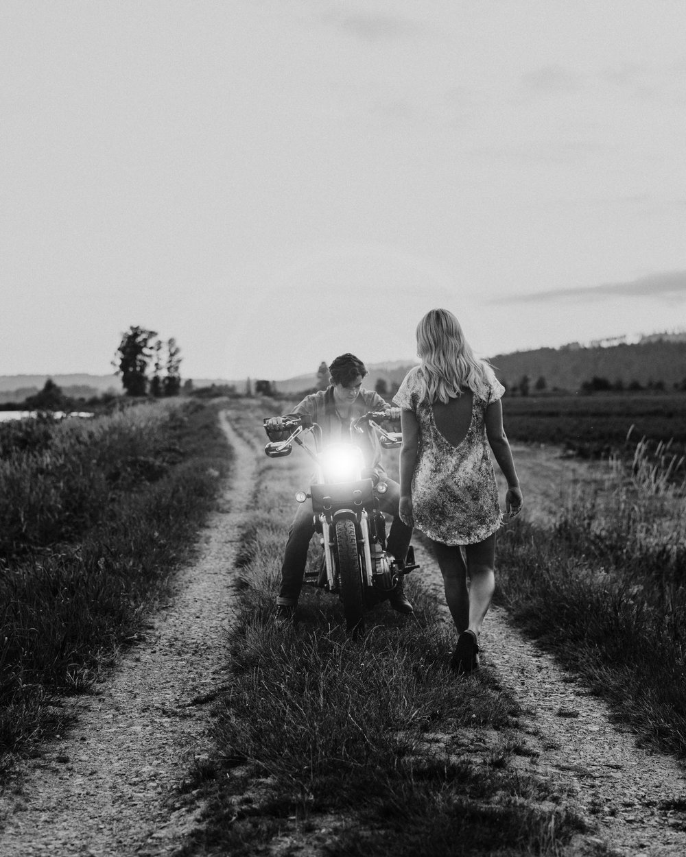 pitt lake engagement motorcycle couple