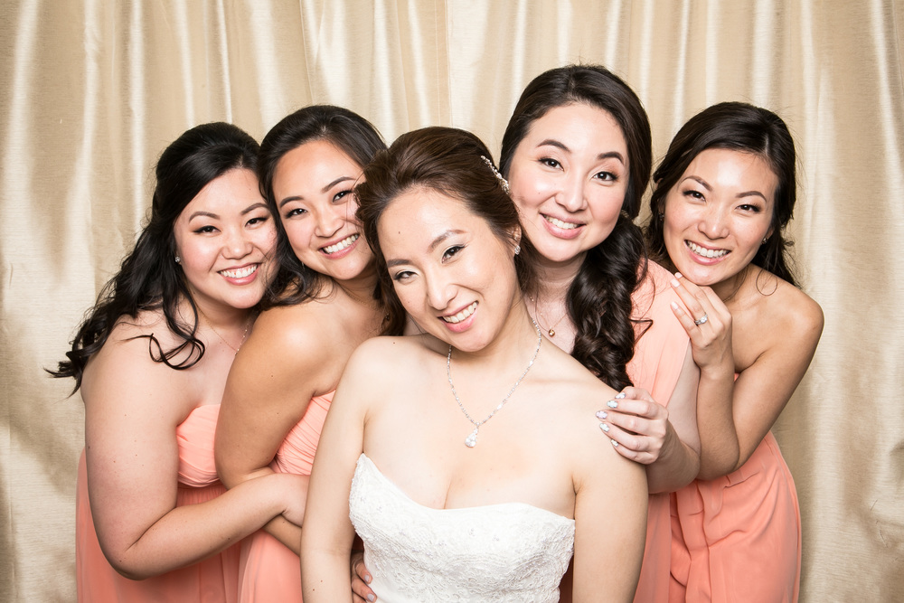 Hair and Makeup for bride and her bridesmaids.  Photobooth: www.partybangbang.com
