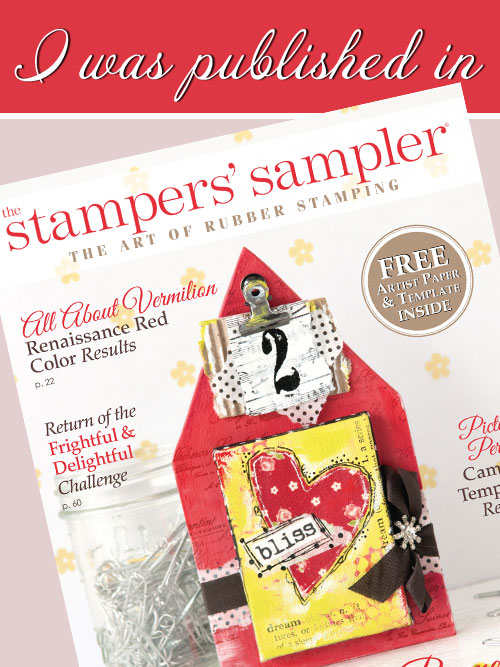 So happy to have my cards published in the latest 2015 issue.  Thanks Stampington and editor Devon Warren for making dreams come true!
