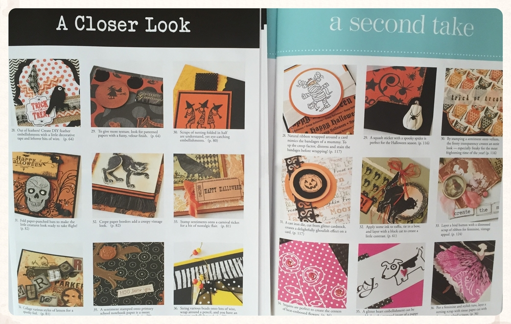 And just when you think you've come to the end of the magazine there's a little gem awaiting you.  All the details you want to think about adding to your cards are magnified for your stamping and embellishing pleasure.  Such a special treat are these departments 'A Closer Look' (Stampers' Sampler) and 'a second take' (Take Ten).