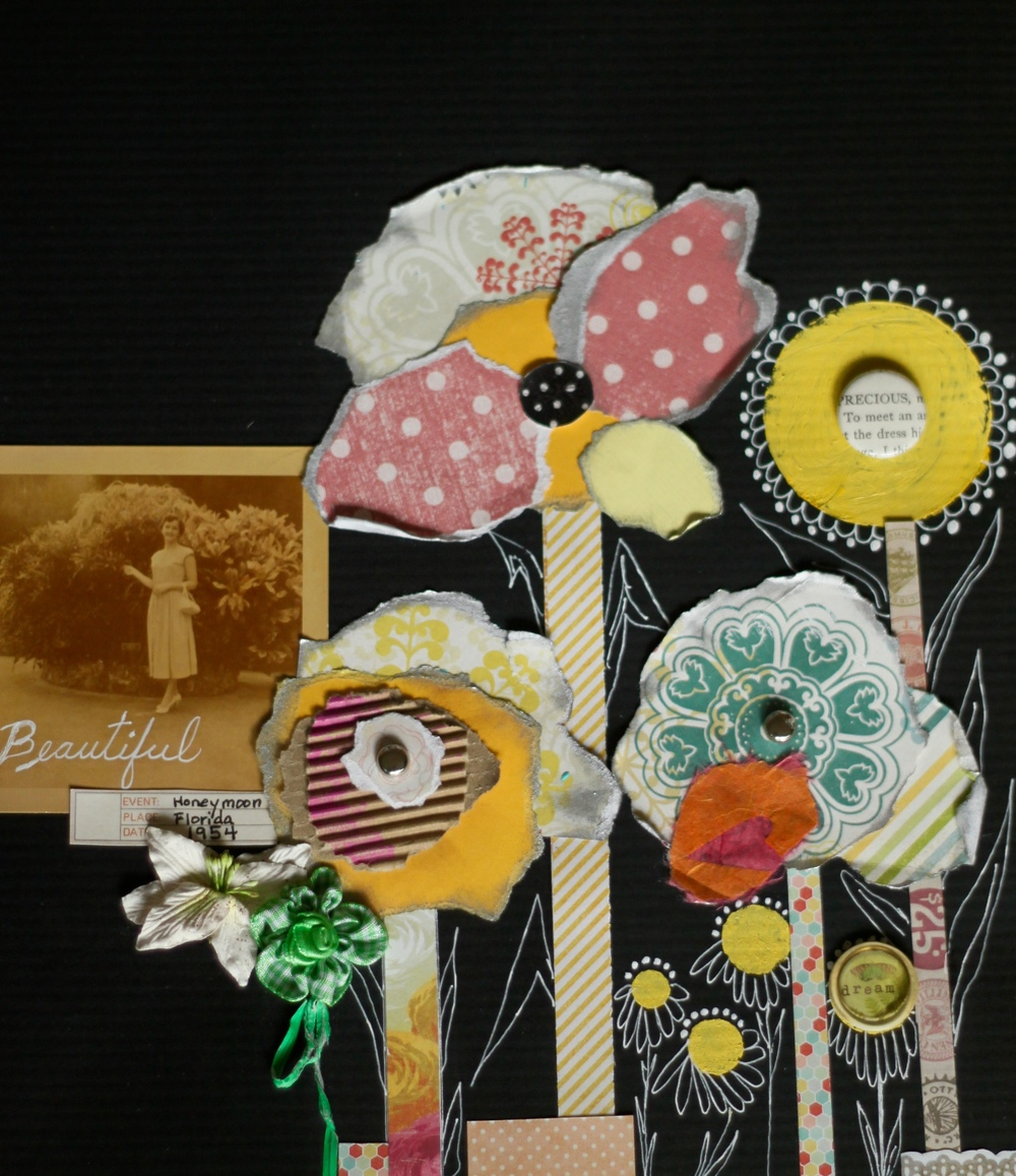 Fabric Flowers, Paper Scrap Flowers, Doodled Flowers
