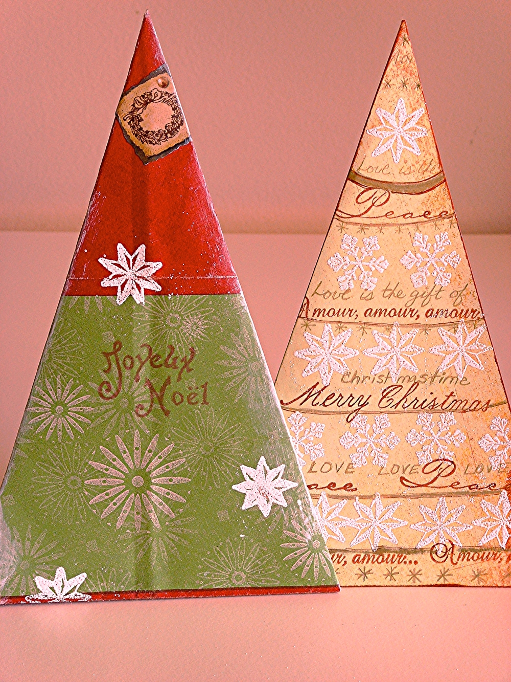 Up-cycled Shopping Bag Triangle Envelope & Christmas Card
