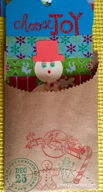 Handcrafted Christmas Gift Tag in Kraft Pocket - Washi Tape, Embossed Sentiment