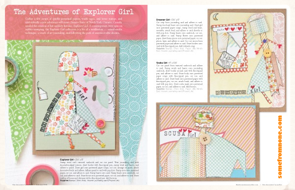 Two page feature spread as seen inside The Stampers' Sampler Magazine 2015