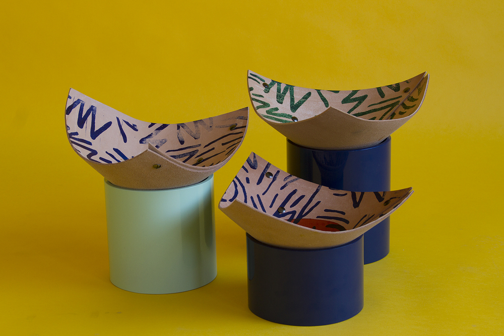 Tropical Sunset - snack bowls. Powder coated steel and leather.