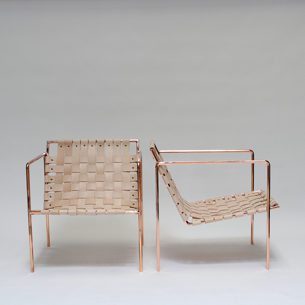 architectural digest home design show eric trine the big release rod weave chair is copper and veg tan leather