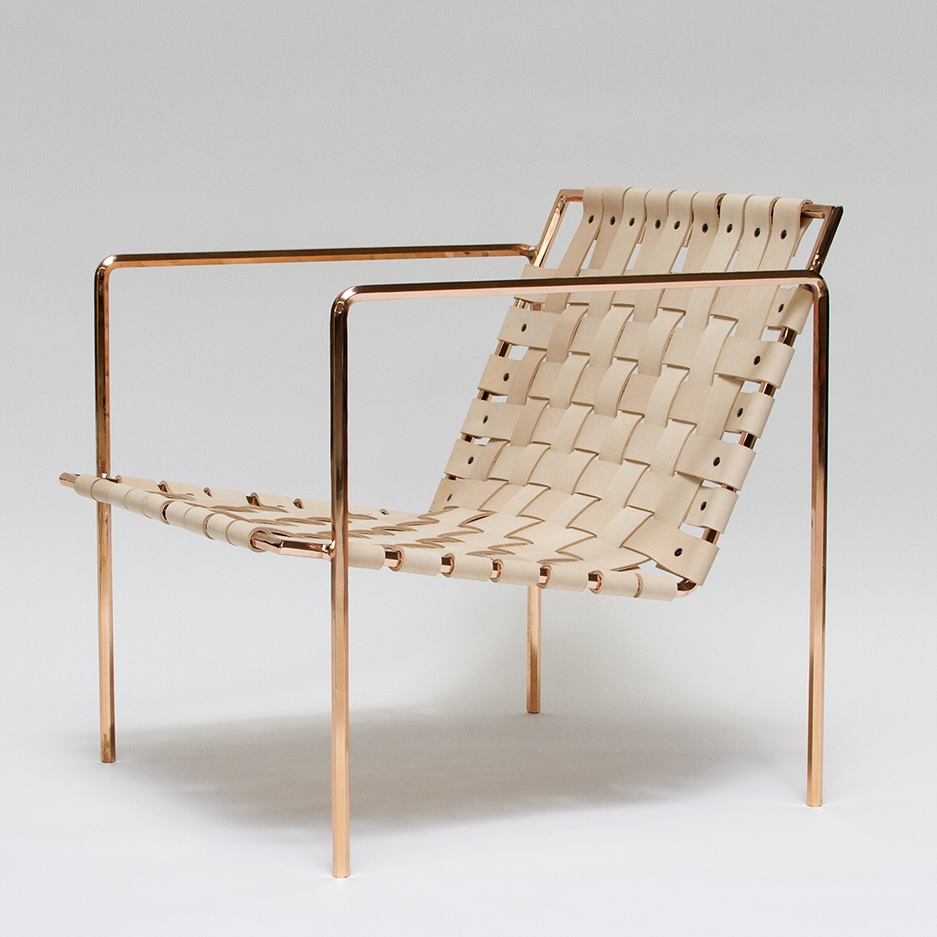 Rod+Weave Chair   Metal Plated Frame