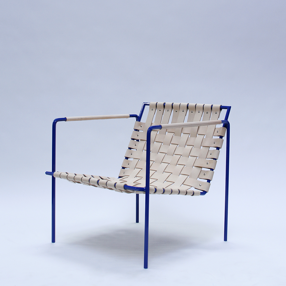 Rod+Weave chair, cobalt frame, veg tan leather. Special edition leather arm wraps by Half Light Bindery