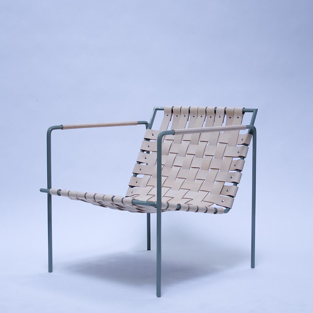 Rod+Weave chair, sage frame, veg tan leather, with special edition leather arm wraps by Half Light Bindery