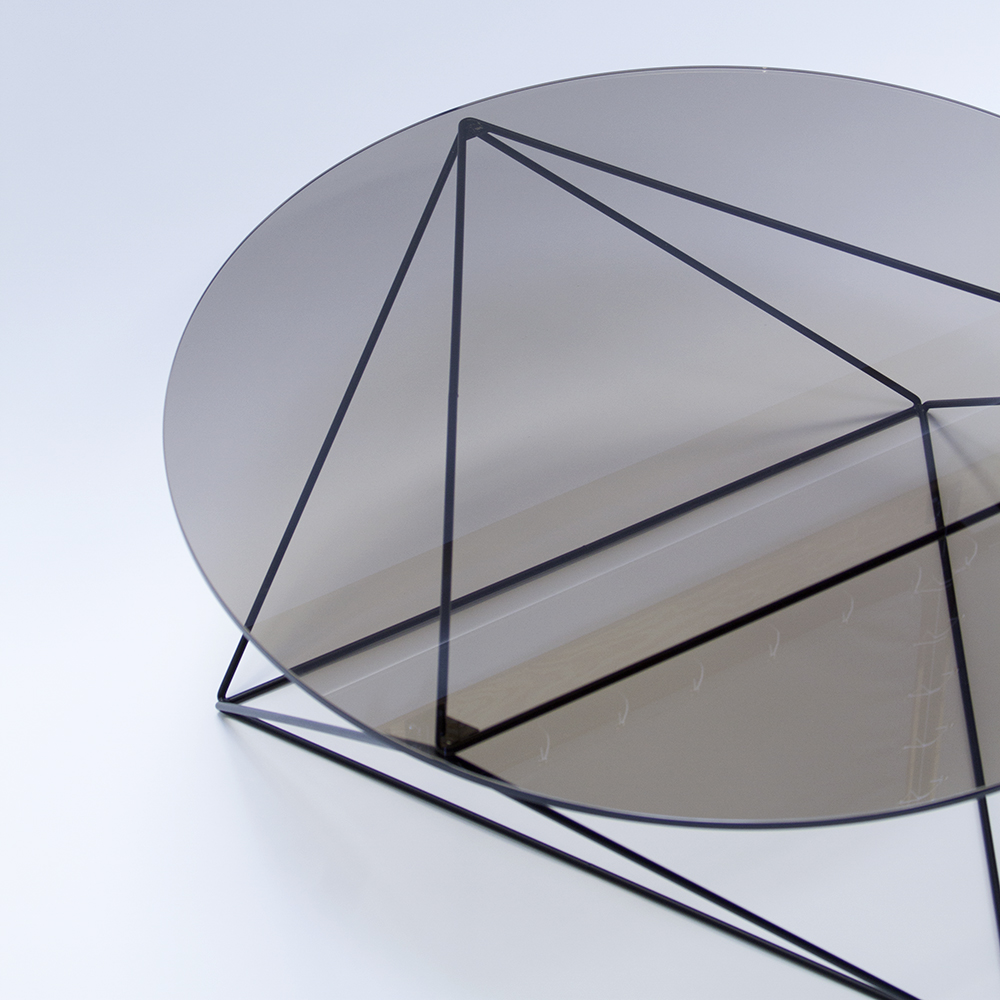 "Octahedron Coffee Table with 36"" diameter glass top. Debuted at Sight Unseen Offsite"
