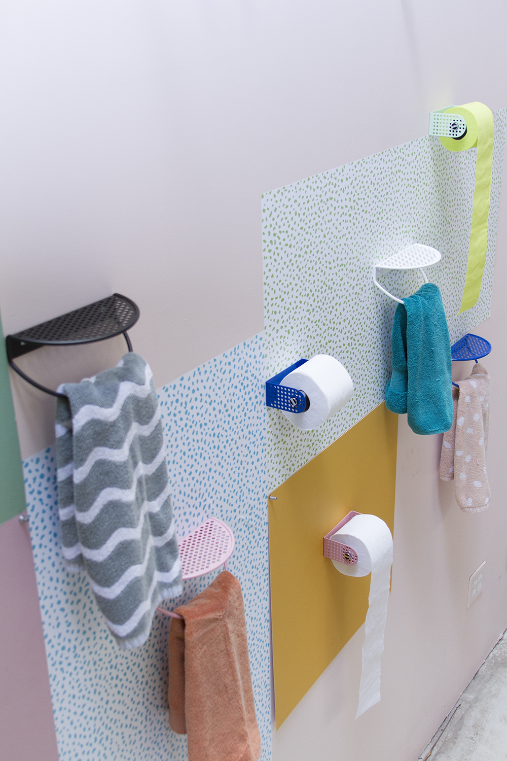 Pop Perf Hand Towel Rack, and Toilet Paper Holder.