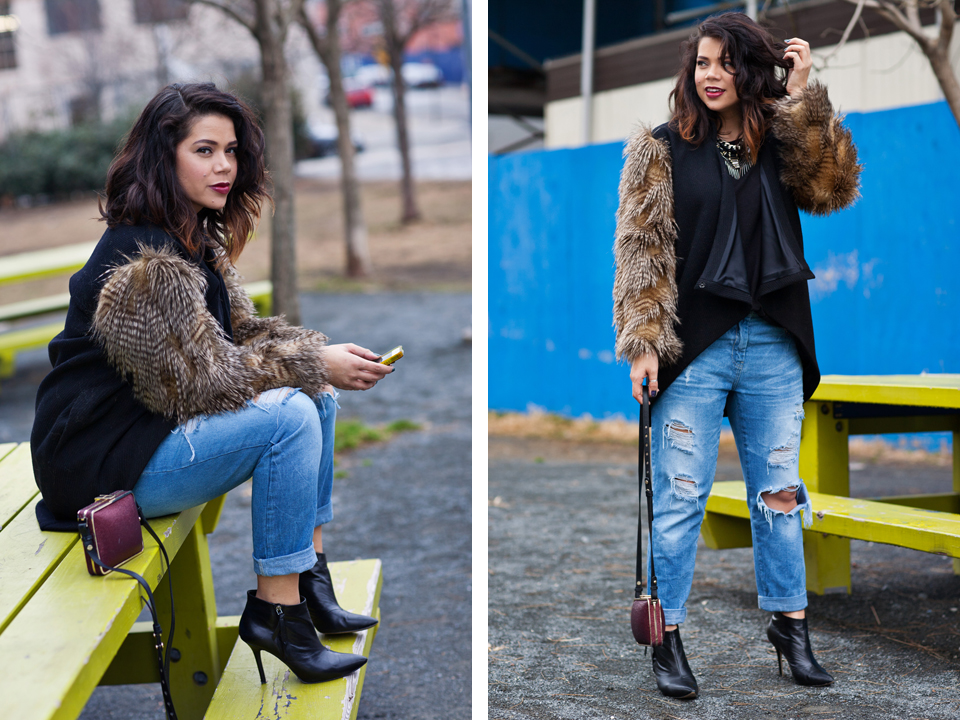 dana maxx, fur jacket, winter wardrobe, baggy jeans, zara, pointed ankle boots, foley and corinna, clutch, wine colored lipstick, new york, fashion blogger, profresh style