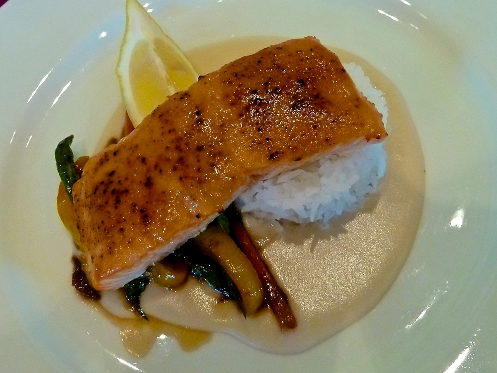 Fourth Course-Miso Glazed Salmon, Enoki Puree & Spring Mushrooms, Jasmine Rice, Szechuan Glazed Vegetables