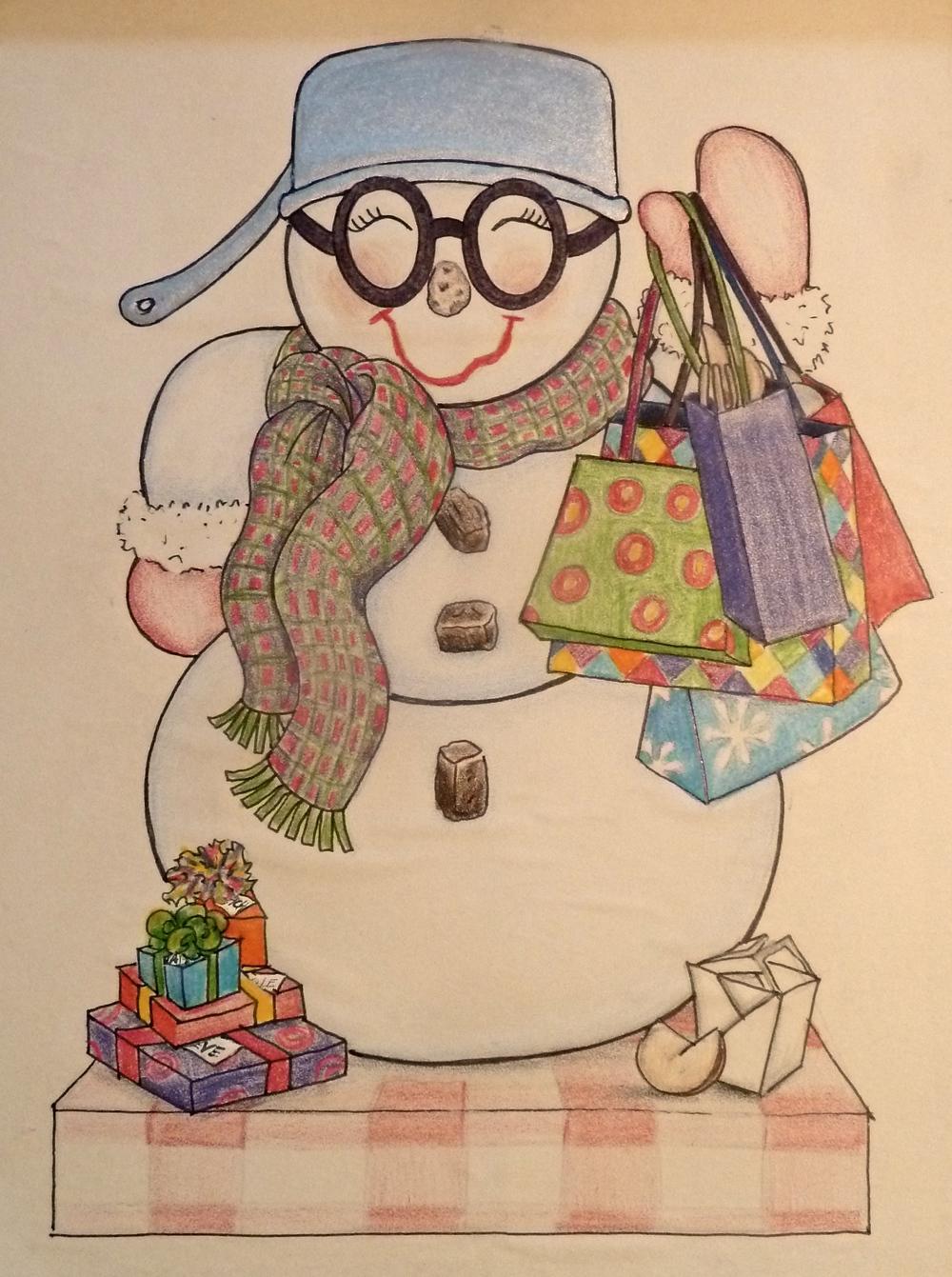 Original drawing of Sue's Snow Woman