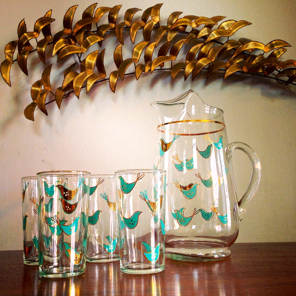 Pitcher & tumbler set (turquoise & gold birds) | $60