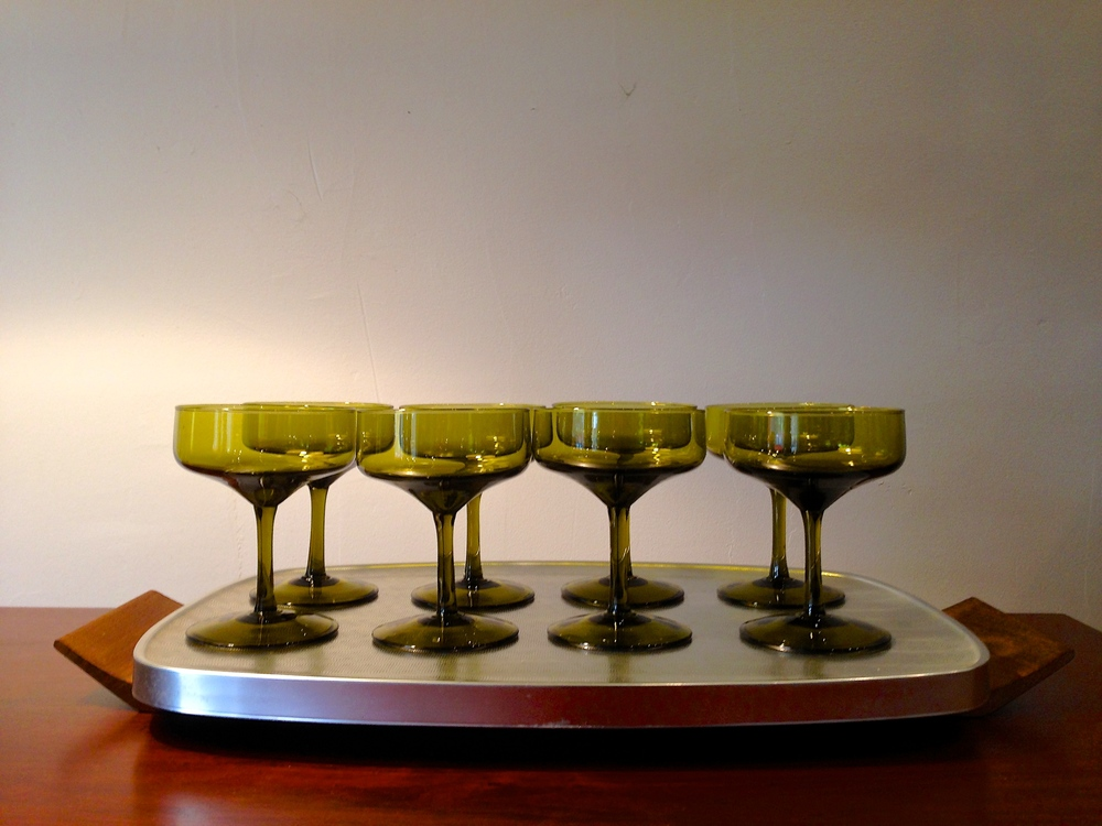 Set of 8 1970s avocado green coupes | $48