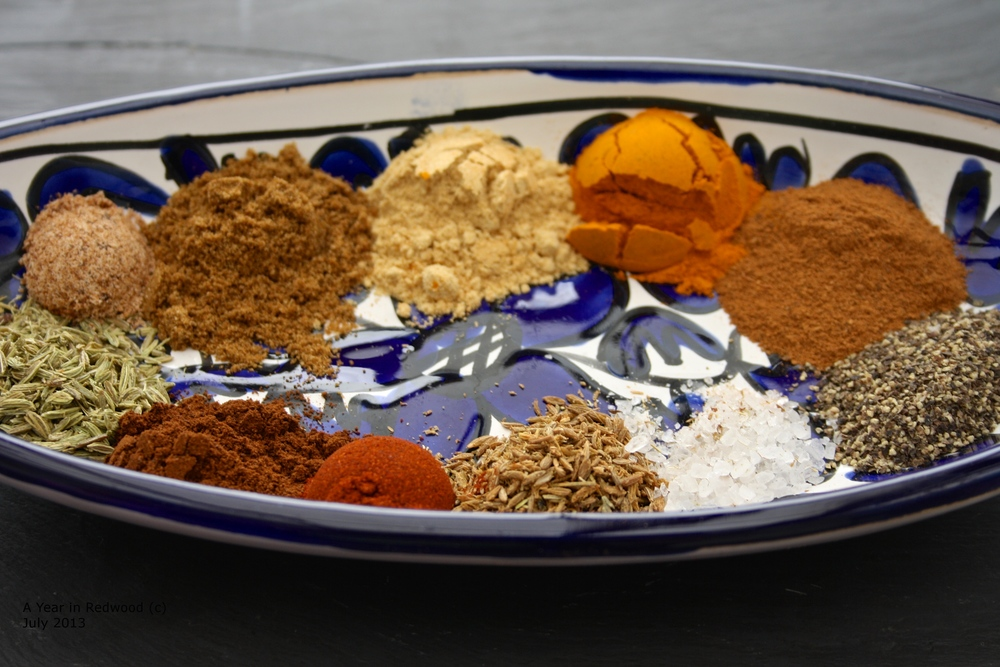 Ras El Hanout spice mix (From this website:  http://ayearinredwood.com/2013/08/20/ras-el-hanout-top-of-the-house/  )