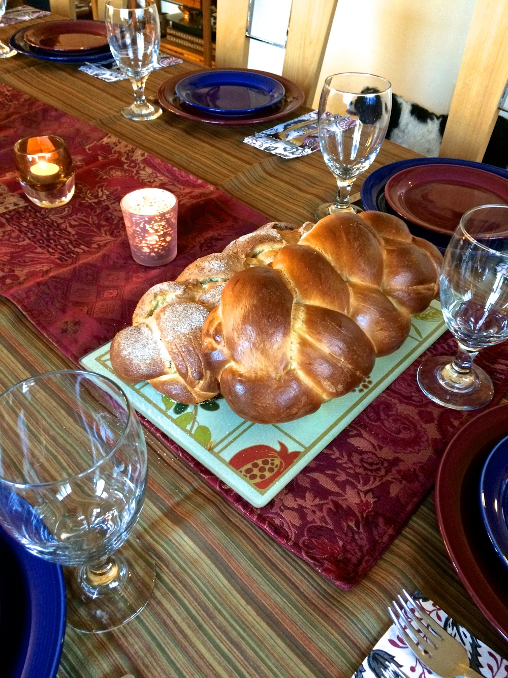 Shabbat Dinner Table (with our dog Lilly)