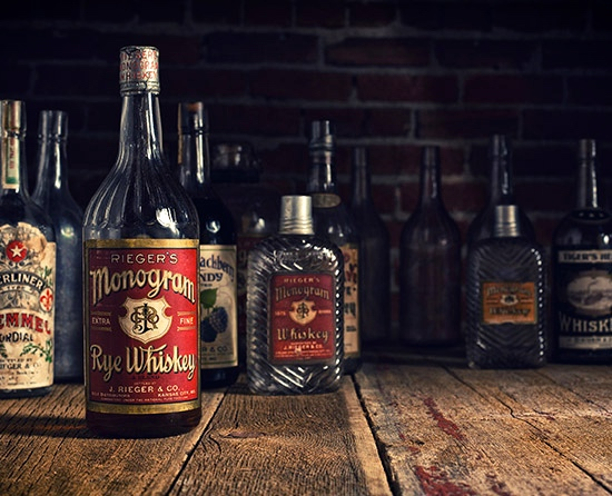 A lineup of J. Rieger & Co.'s spirits | Photo: Samantha Levi Photography