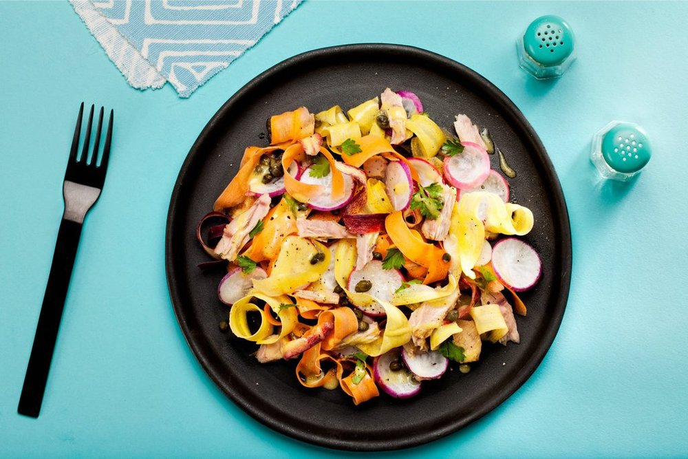 Radish and Carrot Salad with Tuna and Capers