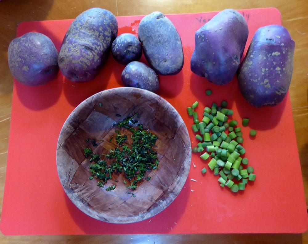 CSA box purple potatoes