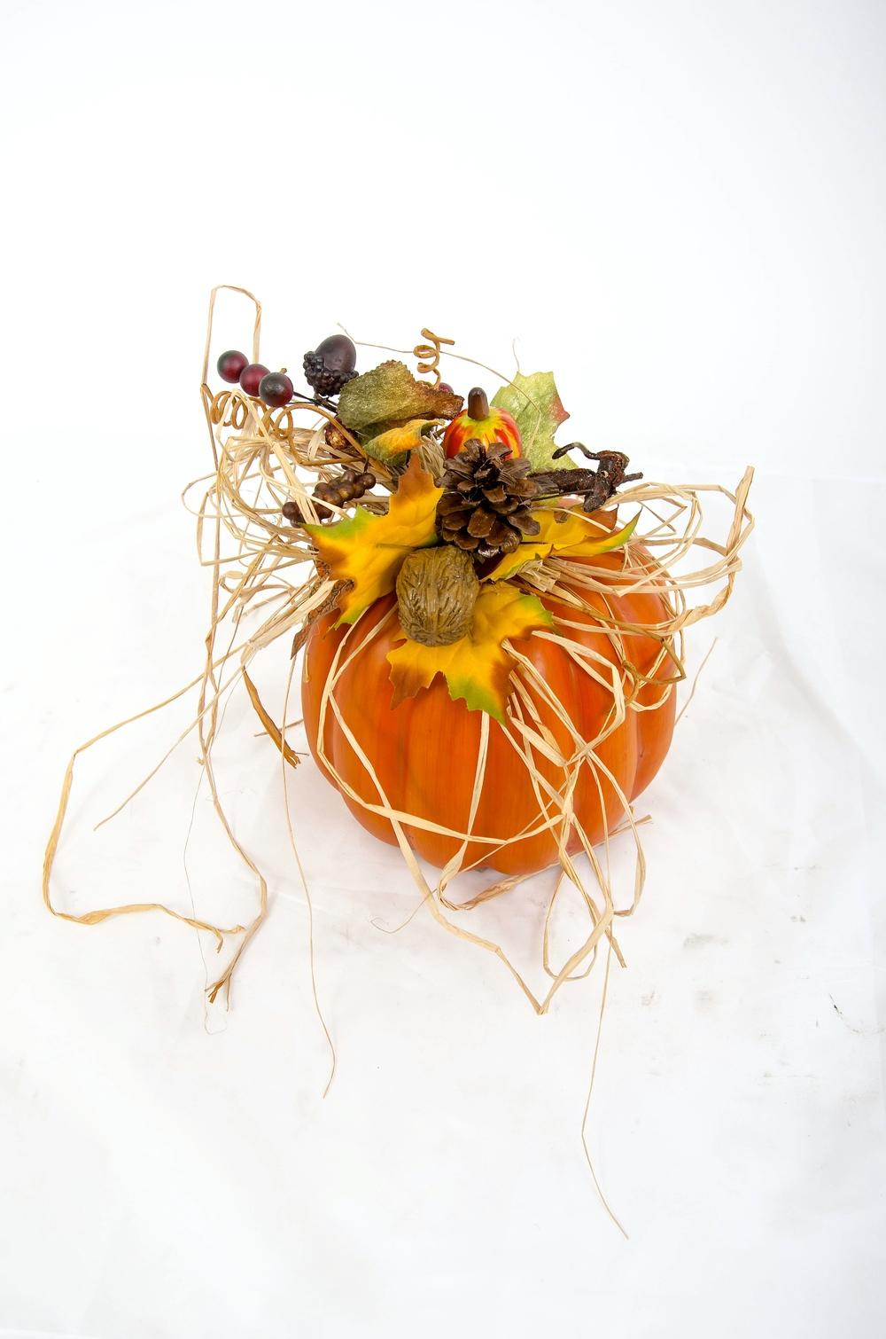Casual Pumpkin with Raffia Bow