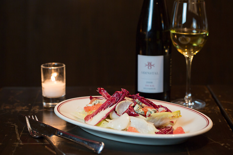 Endive-Radicchio Salad, Grapefruit, and Fourme d'Ambert paired with 2008 Odinstal '350 N.N.' Silvaner